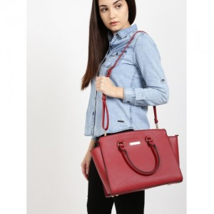 DressBerry Maroon Solid Handheld Bag