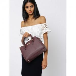DressBerry Burgundy Solid Handheld Bag