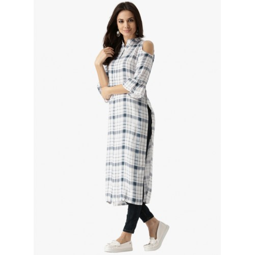 Libas Women's Checkered Straight Kurta(White)