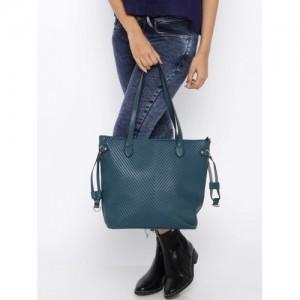DressBerry Teal Blue Textured Shoulder Bag