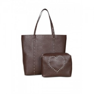 Bagsy Malone Brown Solid Tote Bag