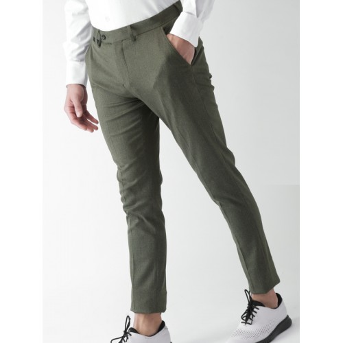 6d90a04e143 Buy INVICTUS Men Olive Green Slim Fit Solid Formal Trousers online ...