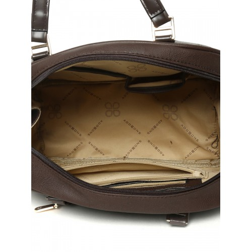 Addons Coffee Brown Textured Handheld Bag with Sling Strap