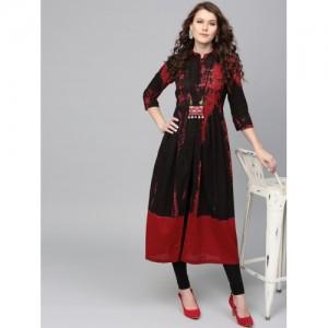 Rain & Rainbow Women Black & Red Dyed Anarkali Kurta