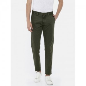 U.S. Polo Assn. Men Olive Green Austin Trim Fit Printed Chinos