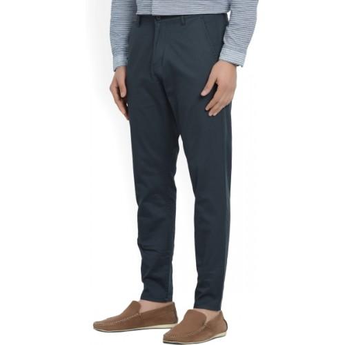 Highlander Dark Blue Cotton Slim Fit Men's Trousers