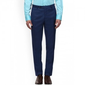 Raymond Men Blue Slim Fit Solid Formal Trousers