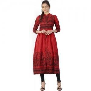 Vishudh Red Cotton Printed A-line Kurta
