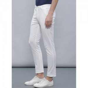 Ether White Cotton Solid Slim Fit Chinos
