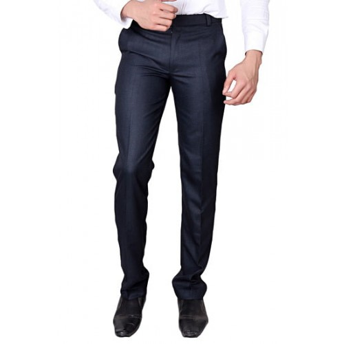 230bcbab3bb Buy Villain Men s Formal Trousers - Slim Fit Formal Pants - BLUE ...