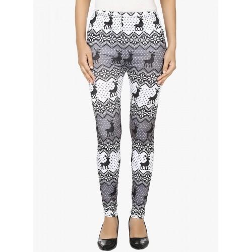 N-Gal Black & White Polyester Printed Legging