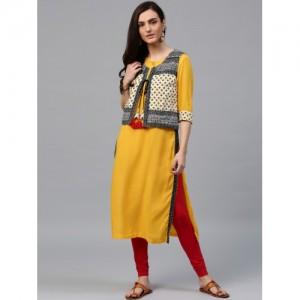 Rain & Rainbow Women Yellow Solid Straight Kurta with Ethnic Jacket