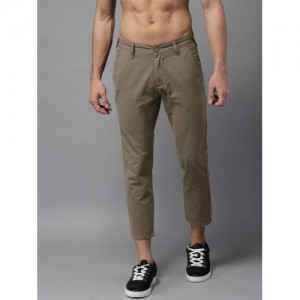 Moda Rapido Men Brown Slim Fit Solid Ankle Length Chinos