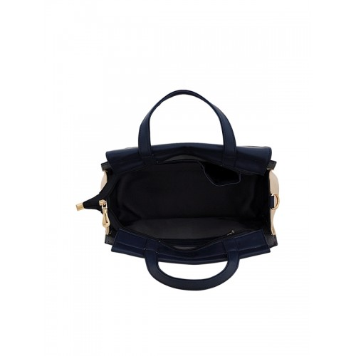 LaFille Red & Navy Blue Colourblocked Handheld Bag