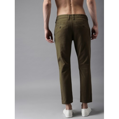 HERE&NOW Men Brown Slim Fit Solid Chinos