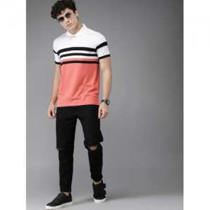 HERE&NOW White & Coral Pink Colourblocked Men T-shirt