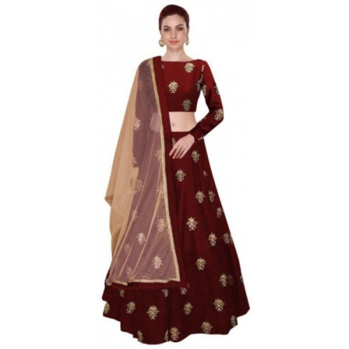 Fast Fashions Maroon Embroidered Taffeta Silk Semi Stitched Lehenga Choli