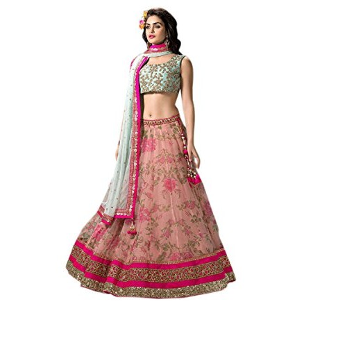 a65f8a4c38 Buy Greenvilla Mint & Pink Designs Net Lehenga Choli online ...