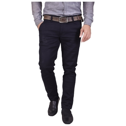 Nation Polo Club Navy Blue Cotton Solid Casual Trouser
