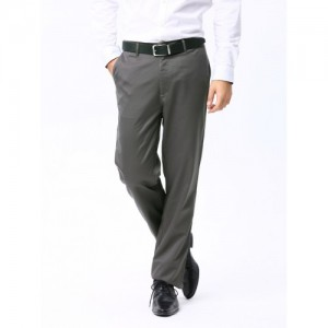 Basics Men Grey Comfort Fit Trousers