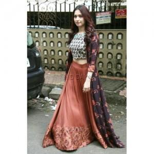 Bollywood Style Party Wear With Jacket Style Lehenga
