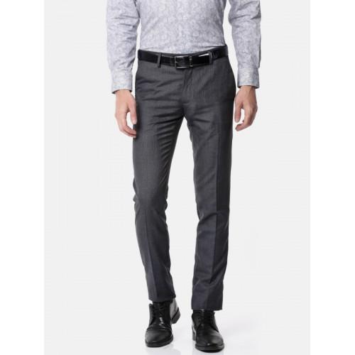 ac380bd97a ... Van Heusen Men Charcoal Grey Ultra Slim Fit Self Design Formal Trousers  ...