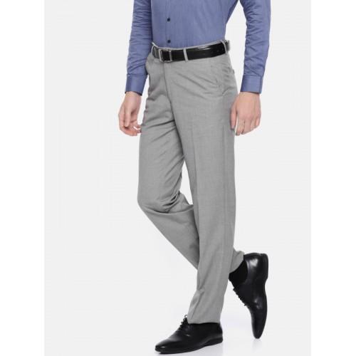 132fcc3f47 ... Van Heusen Men Grey Custom Regular Fit Solid Formal Trousers ...