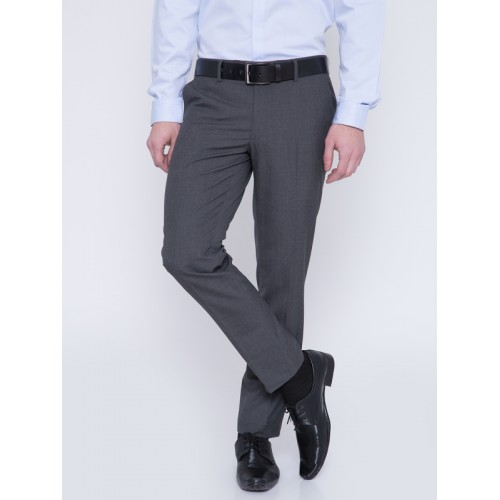 fee647060 Buy Black coffee Men Grey Slim Fit Solid Formal Trousers online ...