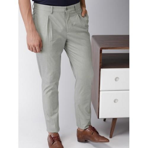 b9d0cf49a Buy INVICTUS Men Grey Slim Fit Self Design Smart Casual Trousers ...