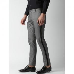 INVICTUS Men Grey Melange Slim Fit Solid Formal Trousers