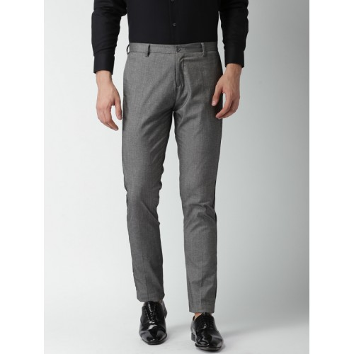 INVICTUS Men Grey Melange Slim Fit Solid Formal Trousers