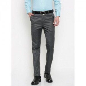 Arrow Grey Solid Formal Trousers