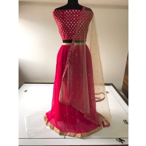 Salwar Soul Pink Net  Embroidary Work Lehenga Choli