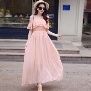 Rosella Baby Pink Cold Shoulder Long Dress