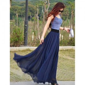 Rosella Navy Blue Georgette Maxi Flared Skirt