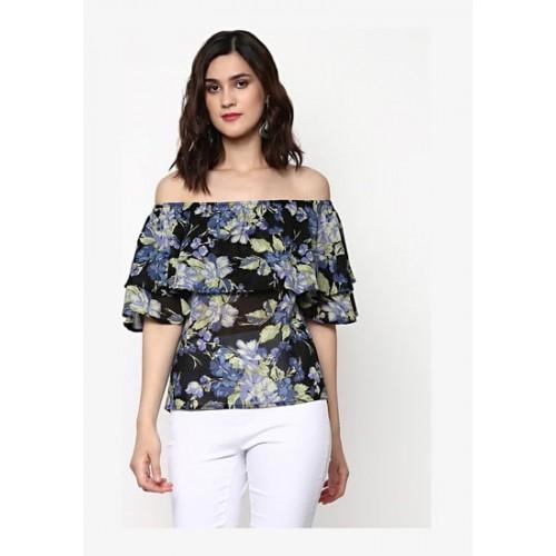 721484095f4e3f Buy SASSAFRAS Black Floral Off Shoulder Layered Top online ...