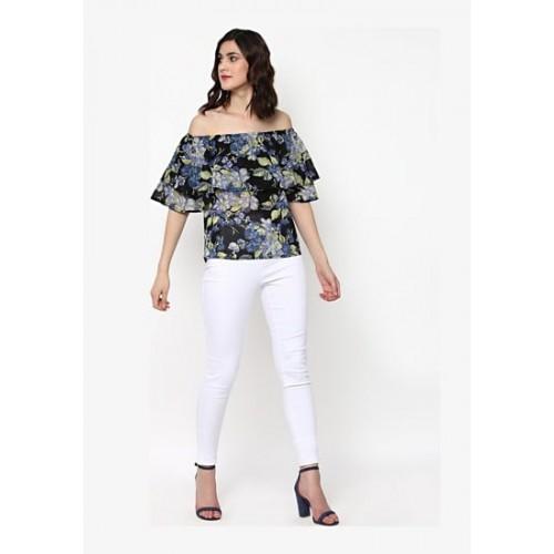 59083e896da1e3 Buy SASSAFRAS Black Floral Off Shoulder Layered Top online