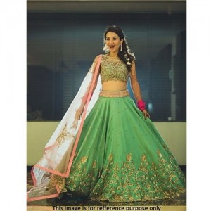 Gurukrupa Digital Green Silk Lace Work Lehenga
