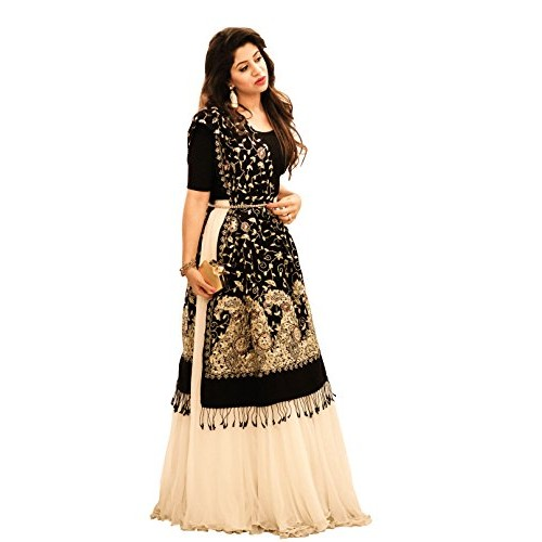Salwar Soul Cream & Black Net Stone Work Lehengas