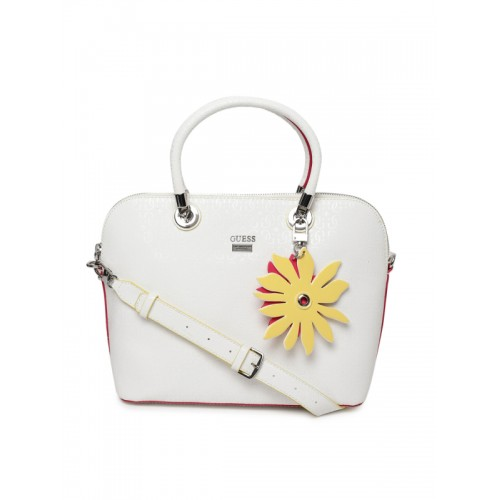 9760eff780 GUESS White Textured Handheld Bag  GUESS White Textured Handheld Bag ...