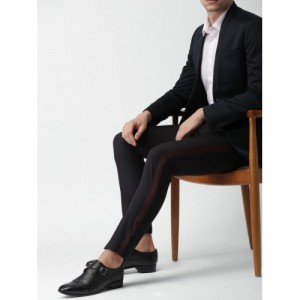 Invictus Black Solid Formal Trouser