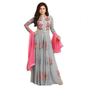 Jil Creation Women's Crepe Chiffon Semi-Stiched Fancy long Patywear Indowestern Gown Suit With Duppatta (JC88_Grey) (off white)
