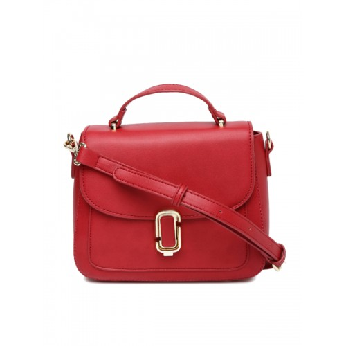 CORSICA Red Polyurethane Solid Satchel Bag