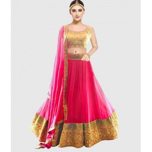 455a60e3e Buy Bhalani Enterprise Pink Net Embroidered Lehenga Choli online ...