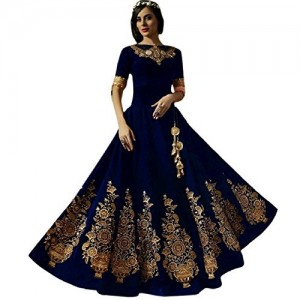 Shree Impex Navy Blue Embroidered Semi stitched gown