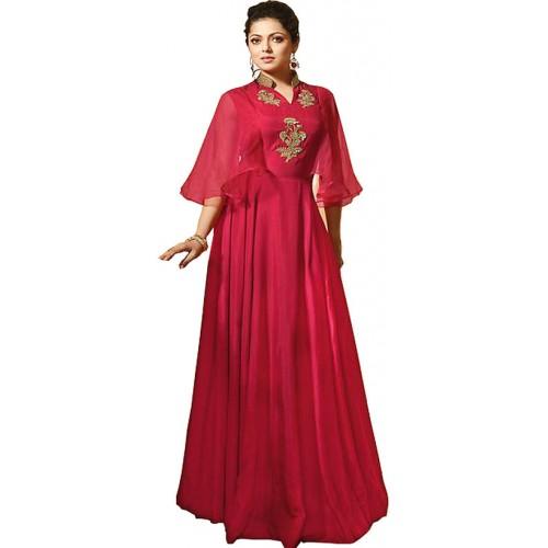 Buy Aika Womens Embroidery Heavy Maslin Fabric Red Anarkali