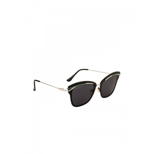 Ted Smith Women Cateye Sunglasses Ts P8091_sil M Blk