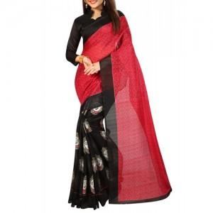 Florence Black & Red Poly Silk Printed Bhagalpuri Saree