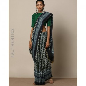 Indie Picks Handblock Print Ajrak Cotton Mull Saree