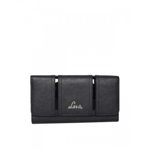 Lavie Women Black Solid Three Fold Wallet